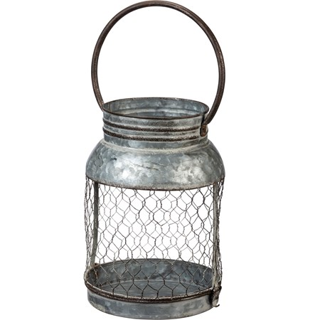 "Candle Holder - Lg Lantern - 7"" x 9.50"" x 6.25"" - Metal, Wire"