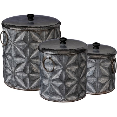 "Canister Set - Star Pattern - 9"" x 10.50"" x 8"", 7.25"" x 8.75"" x 6.25"", 6"" x 6.75"" x 5.50"" - Metal, Wood"