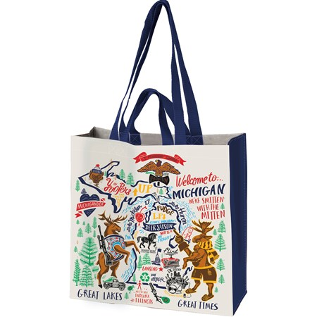"Market Tote - Michigan - 15.50"" x 15.25"" x 6"" - Post-Consumer Material, Nylon"