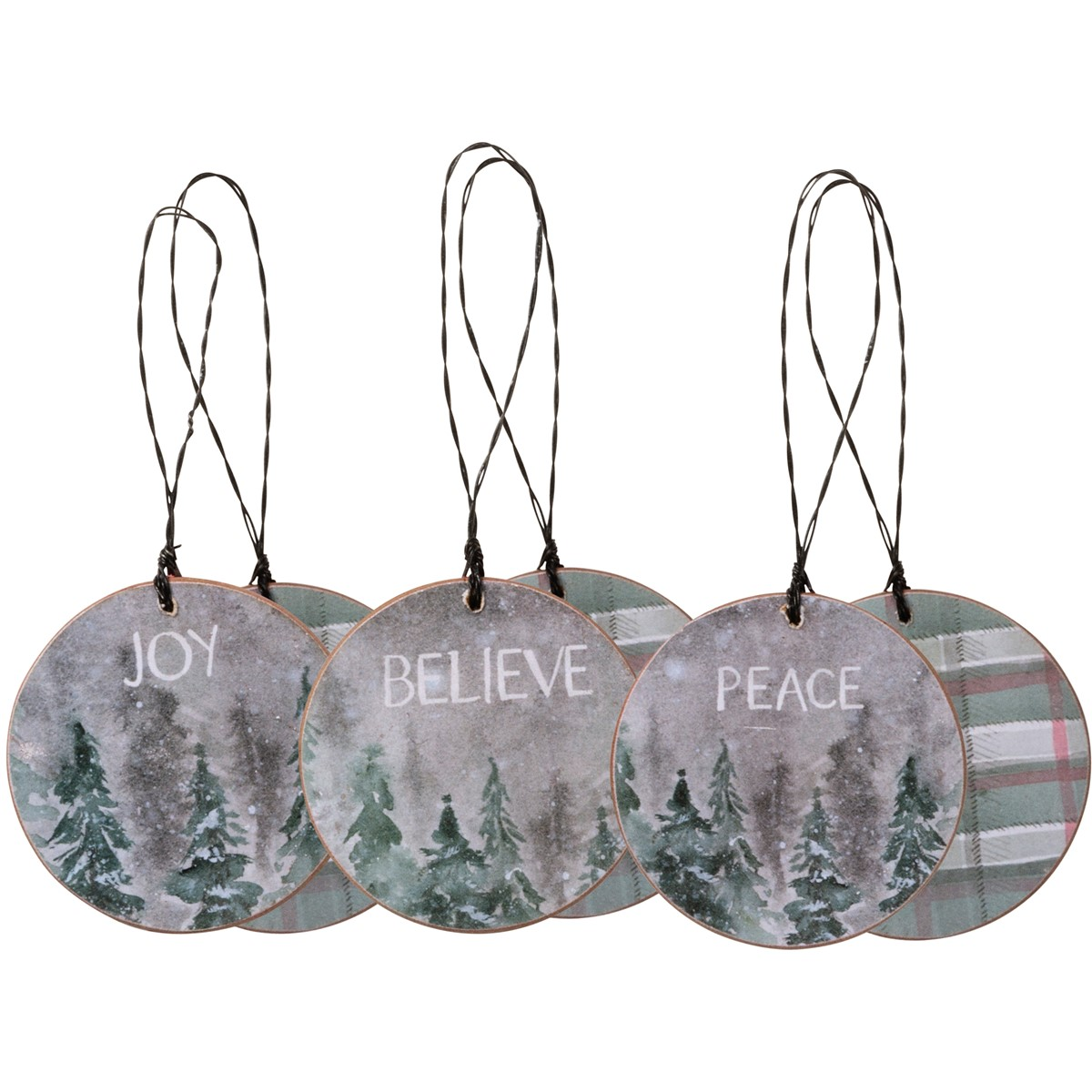 "Ornament Set - Joy Peace - 2.25"" x 2.25"" - Wood, Paper, Wire"