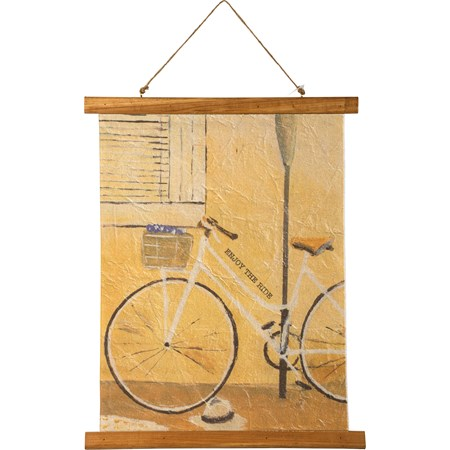 "Wall Decor - Enjoy The Ride - 15.75"" x 19.25"" x 0.75"" - Canvas, Wood, Jute"