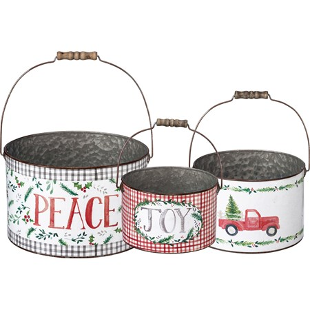 "Bucket Set - Joy Peace - 11.50"" Diameter x 7.25"", 9.25"" Diameter x 6.25"", 7.50"" Diameter x 4.75"" - Metal, Paper, Wood"