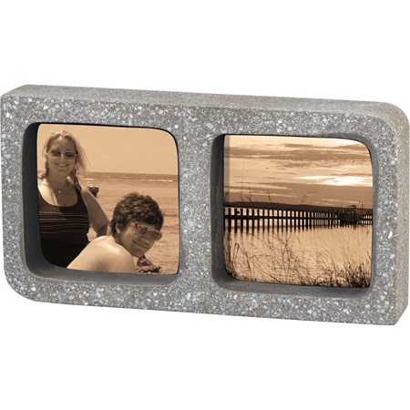 "Frame - Double Gray  - 9"" x 4.75"" x 1.75"", Fits 3.50"" x 3.50"" Photos - Cement"