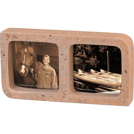 "Frame - Double Pink - 9"" x 4.75"" x 1.75"", Fits 3.50"" x 3.50"" Photos - Cement"
