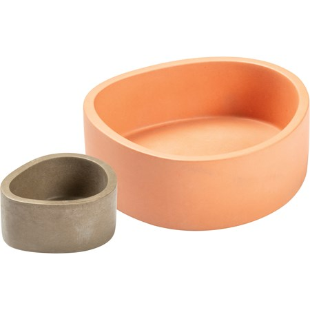 "Pot Set - Pink And Gray - 6.25"" x 2.25"" x 6""; 3.50"" x 1.75"" x 3"" - Cement"
