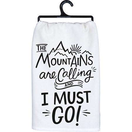 "Dish Towel - The Mountains Are Calling - 28"" x 28"" - Cotton"