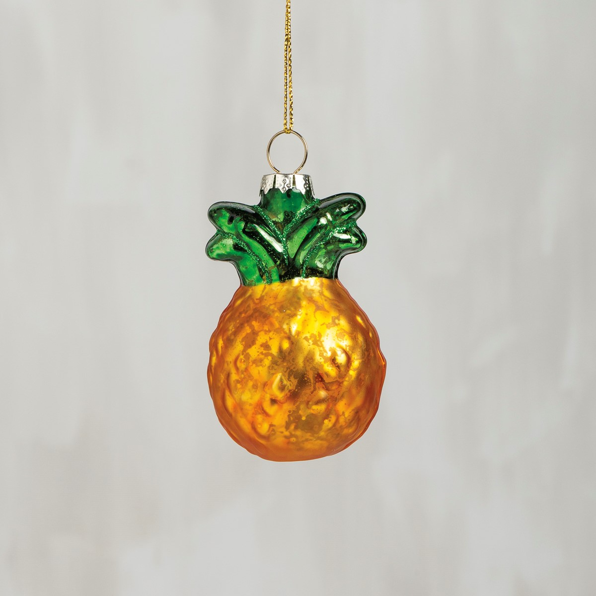 "Glass Ornament - Pineapple - 2"" x 3"" x 1.75"" - Glass, Metal"