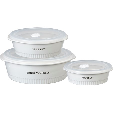 "Casserole Set - Treat Yourself - 10.75"" x 10.25"" x 3.25"",  9"" x 8.25"" x 2.50"", 7"" x 6.75"" x 2"" - Stoneware, Plastic"