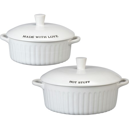 "Covered Casserole Set - More Please - 11.25"" x 8.25"" x 6"", 7"" x 5.25"" x 4"" - Stoneware"