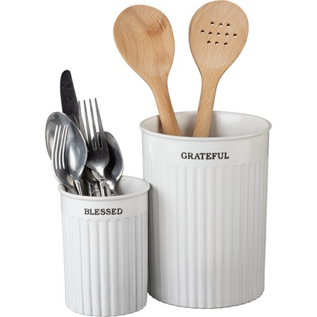 "Utensil Holder Set - Grateful Blessed - 5.25"" Diameter x 7"", 3.75"" Diameter x 5"" - Stoneware"