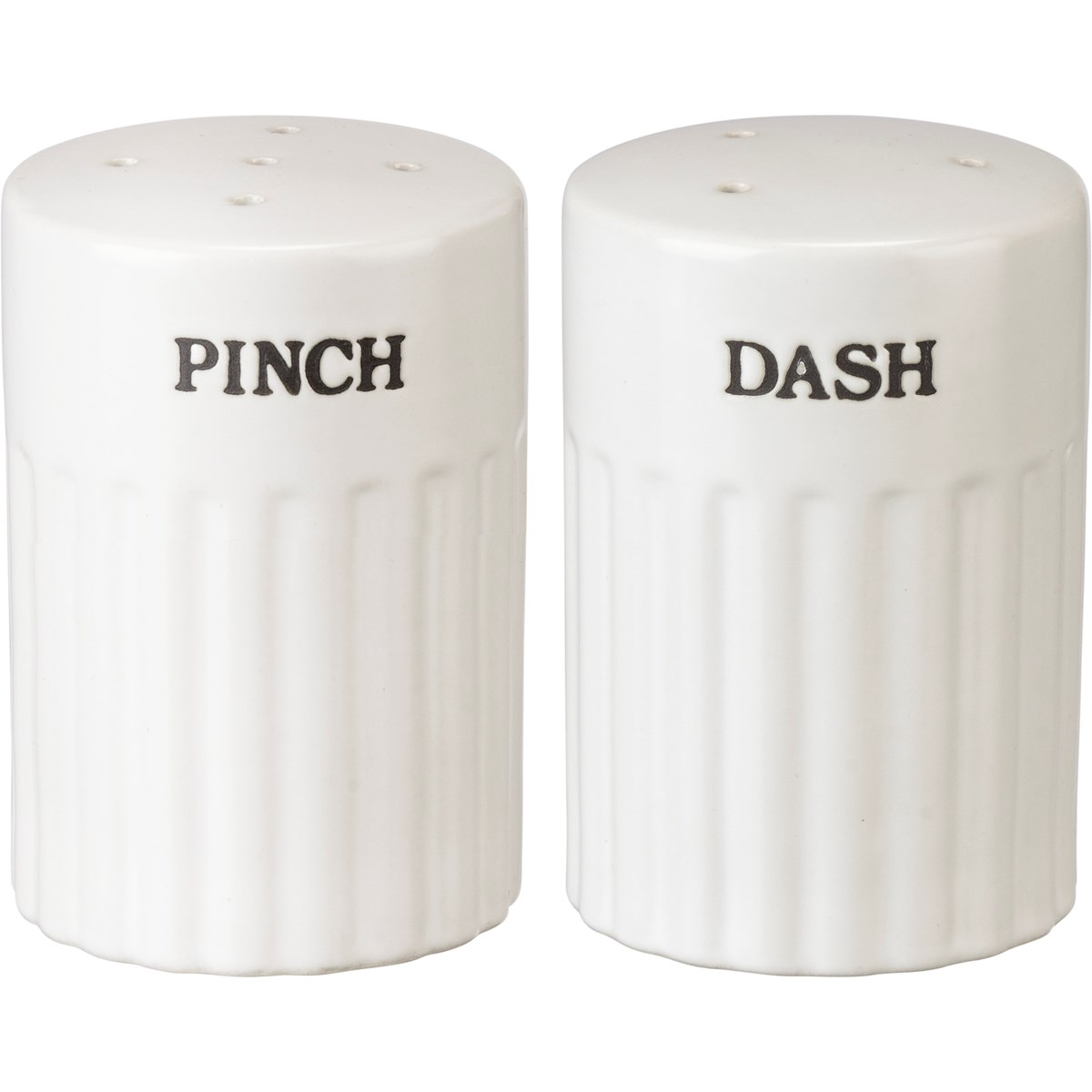 "Salt & Pepper Set - Pinch Dash - 2.50"" Diameter x 3.50"" - Stoneware, Plastic"