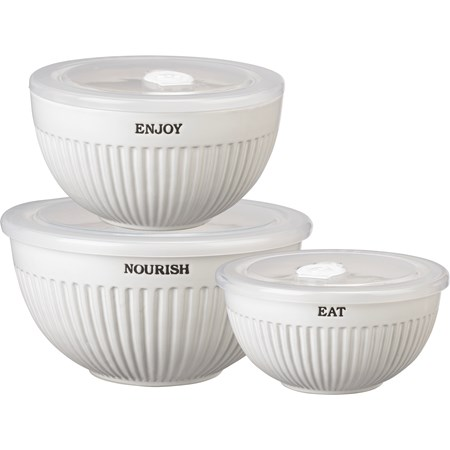 "Bowl Set - Nourish Enjoy Eat - 8"" Diameter x 4"",  6.75"" Diameter x 3.50"", 6"" Diameter x 3"" - Stoneware, Plastic"