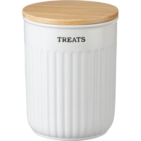 "Canister - Treats - 5"" Diameter x 6.50"" - Stoneware, Wood, Plastic"
