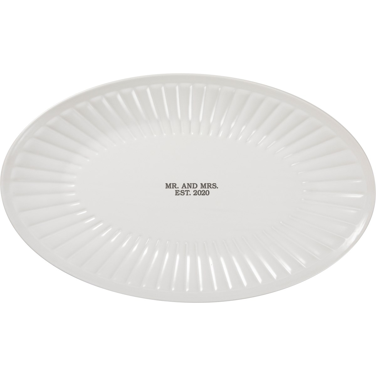 "Platter - Mr. And Mrs. Est. 2020 - 17"" x 10.50"" - Stoneware"