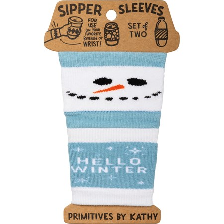 "Sipper Sleeves - Hello Winter - 3.25"" x 3"" - Cotton, Nylon, Spandex"