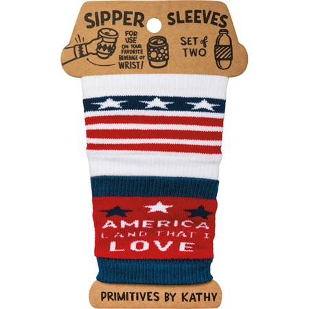 "Sipper Sleeves - America Land That I Love - 3.25"" x 3"" - Cotton, Nylon, Spandex"