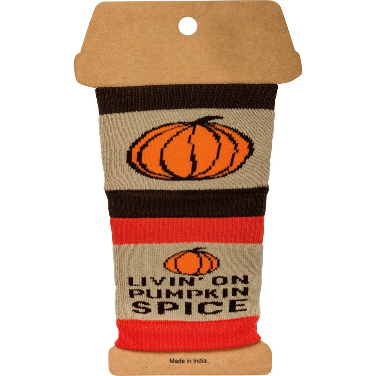 "Sipper Sleeves - Livin' On Pumpkin Spice - 3.25"" x 3"" - Cotton, Nylon, Spandex"