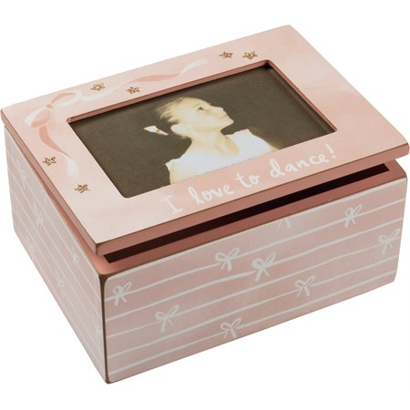 "Photo Box - I Love To Dance - 8"" x 6"" x 4"", Fits 6"" x 4"" Photo - Wood, Paper, Glass, Metal, Glitter"