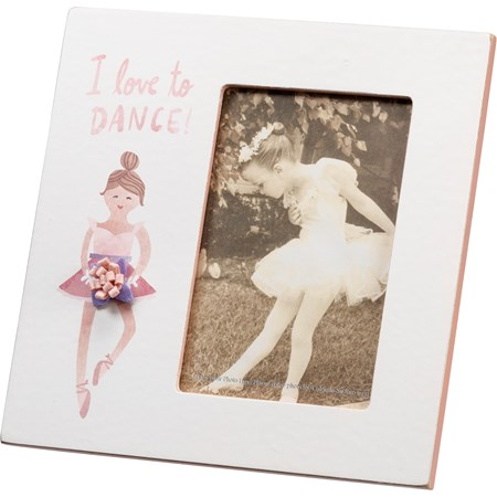 "Plaque Frame - I Love To Dance - 8"" x 8"" x 0.25"", Fits 4"" x 6"" Photo - Wood, Paper, Glass, Felt, Metal"