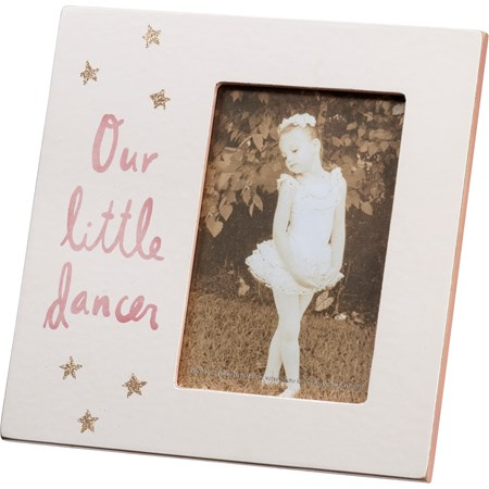 "Plaque Frame - Our Little Dancer - 8"" x 8"" x 0.25"", Fits 4"" x 6"" Photo - Wood, Paper, Glass, Metal, Glitter"