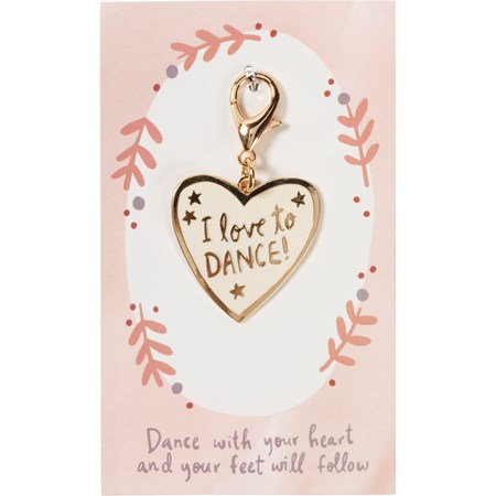 "Charm - I Love To Dance - 1.50"" x 1.50"", Card: 3"" x 5"" - Metal, Enamel, Paper"