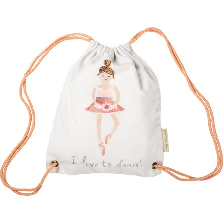"Drawstring Bag - I Love To Dance - 10"" x 12.50"" - Cotton"