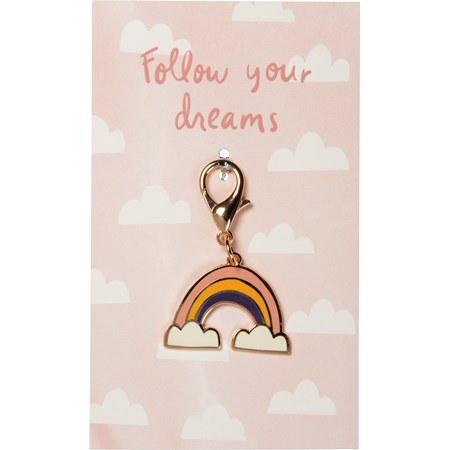"Charm - Follow Your Dreams - 1.50"" x 1.25"", Card: 3"" x 5"" - Metal, Enamel, Paper"