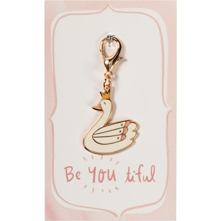"Charm - Be You Tiful  - 1.25"" x 1.50"", Card: 3"" x 5"" - Metal, Enamel, Paper"