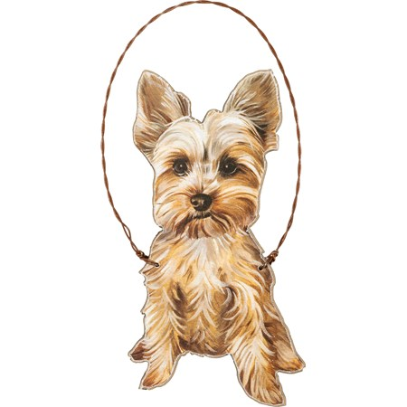 "Ornament - Yorkie - 2.75"" x 5"" - Wood, Paper, Wire"