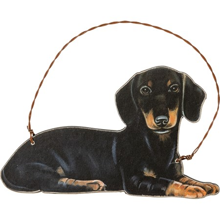 "Ornament - Dachshund - 5"" x 3"" - Wood, Paper, Wire"