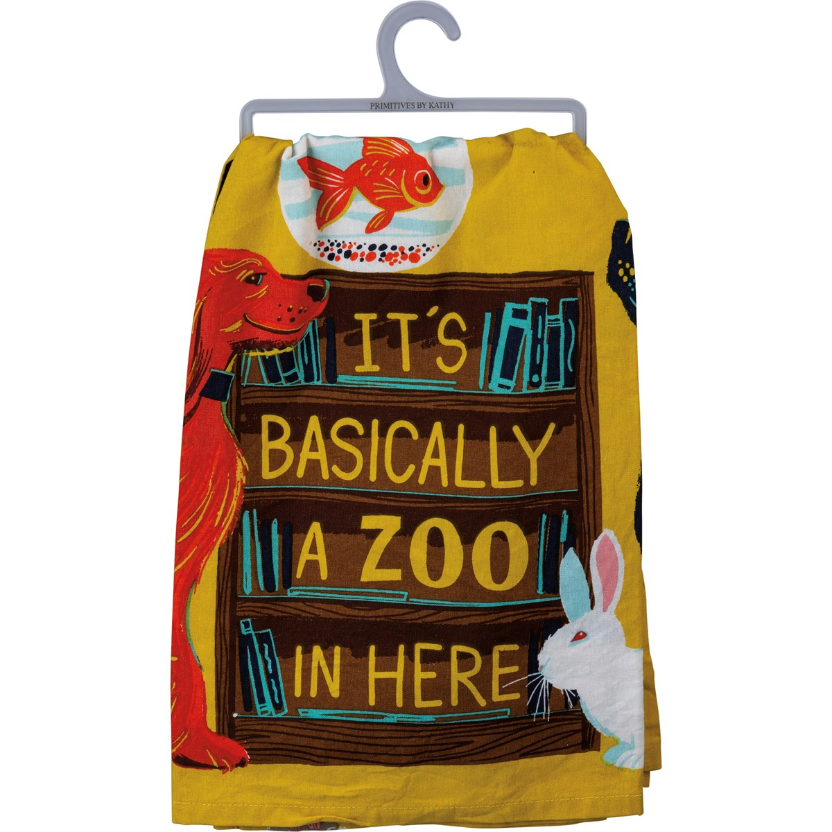 "Dish Towel - It's Basically A Zoo In Here - 28"" x 28"" - Cotton"