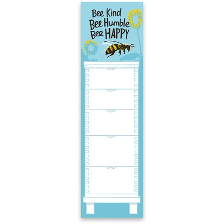 "List Notepad - Bee Kind Bee Humble Bee Happy - 2.75"" x 9.50"" x 0.25"" - Paper, Magnet"