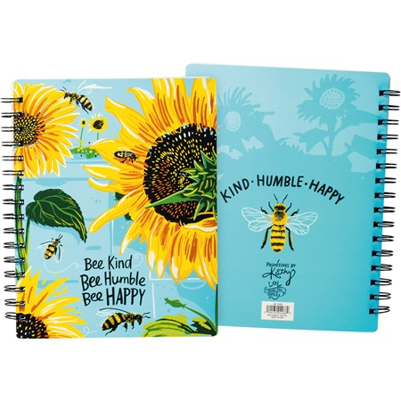 "Spiral Notebook - Bee Kind Bee Humble Bee Happy - 7"" x 9"" x 0.50"" - Paper, Metal"