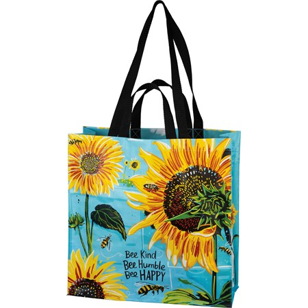 "Market Tote - Bee Kind Bee Humble Bee Happy - 15.50"" x 15.25"" x 6"" - Post-Consumer Material, Nylon"