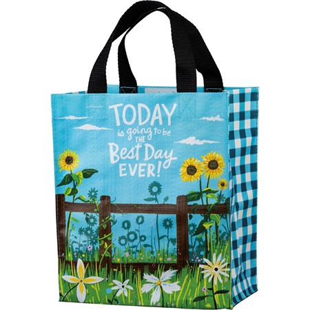"Daily Tote - Today Going To Be The Best Day Ever - 8.75"" x 10.25"" x 4.75"" - Post-Consumer Material, Nylon"