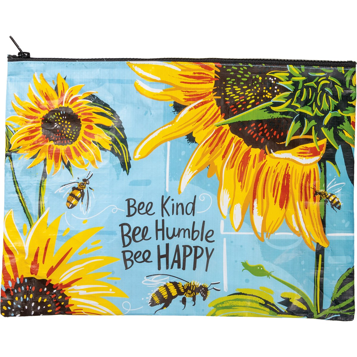 "Zipper Folder - Bee Kind Bee Humble Bee Happy - 14.25"" x 10"" - Post-Consumer Material, Metal"