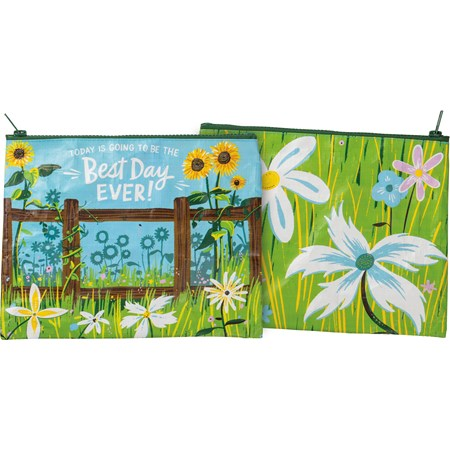 "Zipper Pouch - Today Going To Be The Best Day Ever - 9.50"" x 7"" - Post-Consumer Material, Metal"