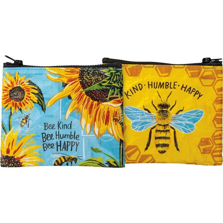 "Zipper Wallet - Bee Kind Bee Humble Bee Happy - 5.25"" x 4.25"" - Post-Consumer Material, Metal"