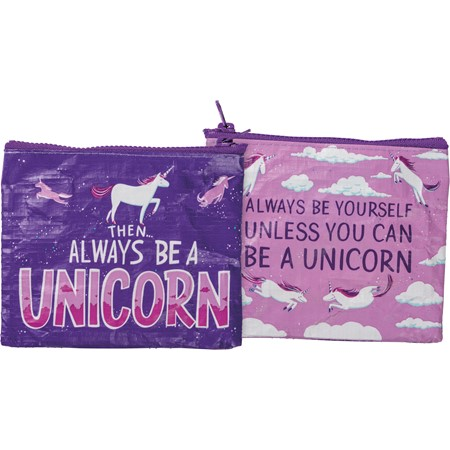 "Zipper Wallet - Always Be A Unicorn - 5.25"" x 4.25"" - Post-Consumer Material, Metal"
