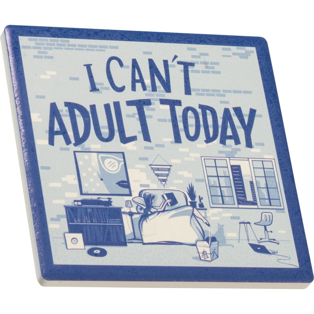 "Coaster - I Can't Adult Today - 4"" x 4"" x 0.25"" - Stone, Cork"