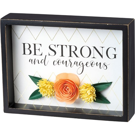 "Inset Box Sign - Be Strong And Courageous - 8"" x 6"" x 1.75"" - Wood, Paper"