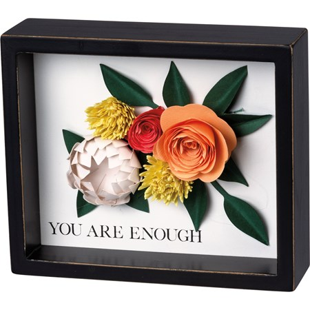 "Inset Box Sign - You Are Enough - 7.50"" x 5"" x 1.75"" - Wood, Paper"