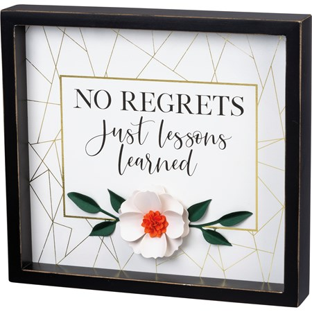 "Inset Box Sign - No Regrets Just Lessons Learned - 12"" x 11"" x 1.75"" - Wood, Paper"