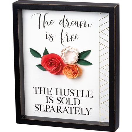 "Inset Box Sign - The Dream Is Free - 10"" x 12"" x 1.75"" - Wood, Paper"