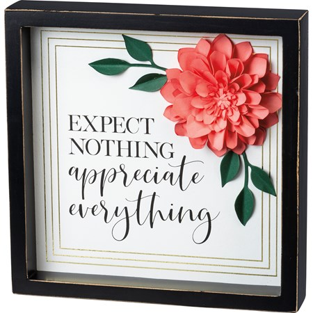 "Inset Box Sign - Appreciate Everything - 10"" x 10"" x 1.75"" - Wood, Paper"