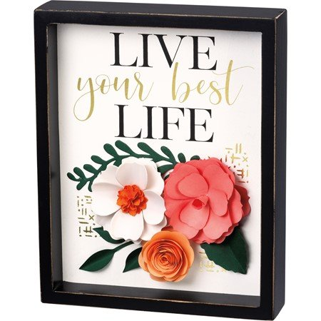 "Inset Box Sign - Live Your Best Life - 8"" x 10"" x 1.75"" - Wood, Paper"