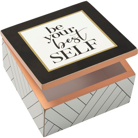 "Hinged Box - Be Your Best Self - 5"" x 5"" x 2.75"" - Wood, Paper, Metal"