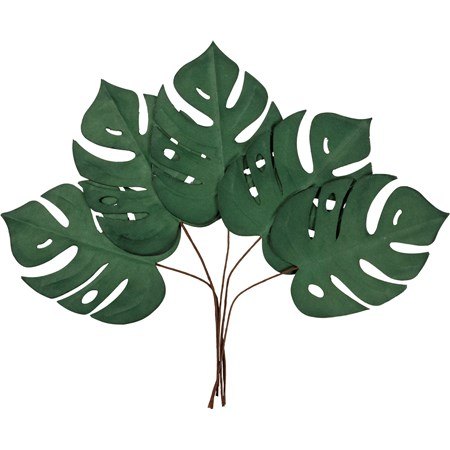 "Pick Set - Monstera - 17"" Tall - Paper, Wire"