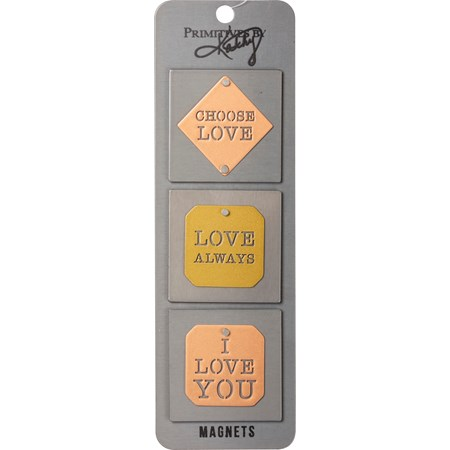 "Magnet Set - Choose Love - 2"" x 2"", Card: 2.50"" x 8"" - Metal, Magnet"