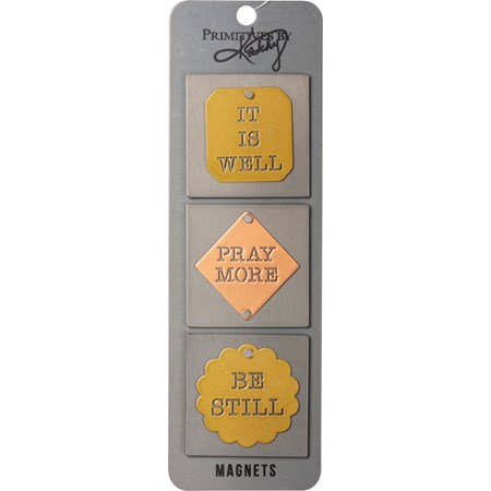 "Magnet Set - It Is Well Pray More Be Still - 2"" x 2"", Card: 2.50"" x 8"" - Metal, Magnet"